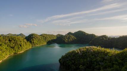nature islands aerial view bird super blue lagune siargao philippines horizon ocean