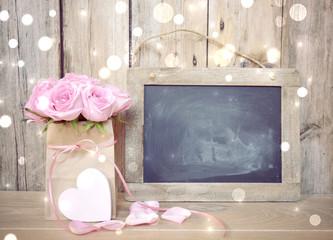 Grußkarte - rosa Rosen Blumenstrauß - Nostalgisch