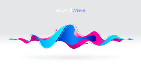 Garden Poster Abstract wave Multicolored abstract fluid sound wave. Vector illustration.