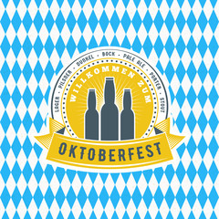Beer festival Oktoberfest celebrations. Vintage greeting card or poster template. Vector illustration