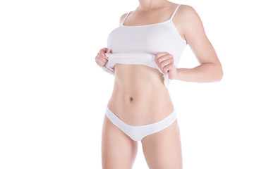 Female cropped fit body in white underwear, isolated on white.