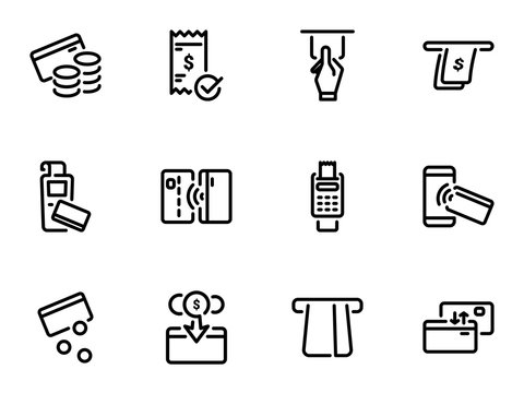 Set of black vector icons, isolated against white background. Illustration on a theme Card payments and cash