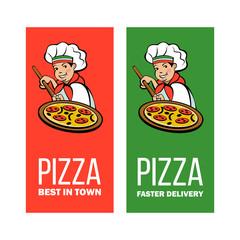 Italian chef. Pizza maker prepares a pizza. Vector logo.
