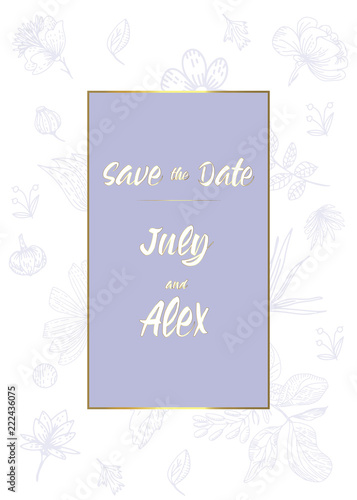 wedding party invitation and save the date card templates with lily of the valley flowers hand
