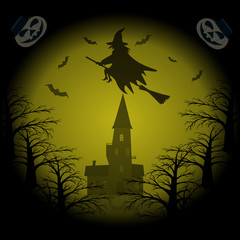 Halloween Night background with witch flying on broomstick