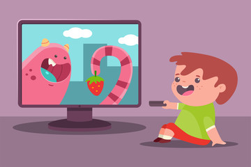 Little boy watch TV. Vector cartoon illustration of a child.