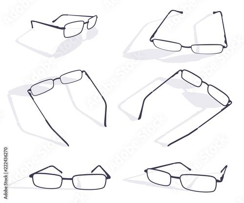e0274fececc Black silhouette of eye glasses frame set. Vector flat icons isolated on  white background.