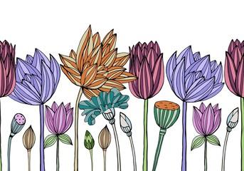 Floral vector seamless pattern for textile, packaging, Wallpaper. Botanical vintage ornament.