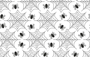 Spiders vector seamless pattern for textile, packaging, Wallpaper. Halloween ornament. Black spider and spider web on white background.