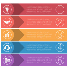 Template infographics from colorful strips. Business concept for 5 positions