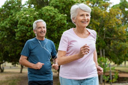 Senior couple running outdoor