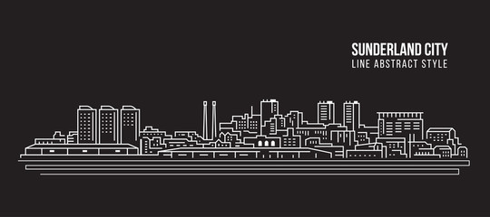 Cityscape Building Line art Vector Illustration design - Sunderland city Wall mural