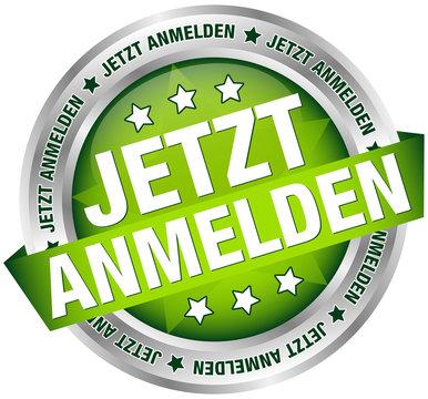 """Button Banner """"Jetzt anmelden"""" grün/silber"""