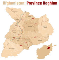 Large and detailed map of the afghan province of Baghlan.