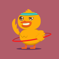 Cute baby duck doing exercises with hula hoop. Vector cartoon bird character isolated on background. Sport and fitness concept illustration.