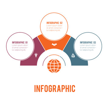 Colorful semicircle and circles.  Elements of Infographics Conceptual Cyclic Processes for 3 Positions Possible to Use for Workflow, Banner, Diagram, Web design, Timeline, Area chart,Number options.