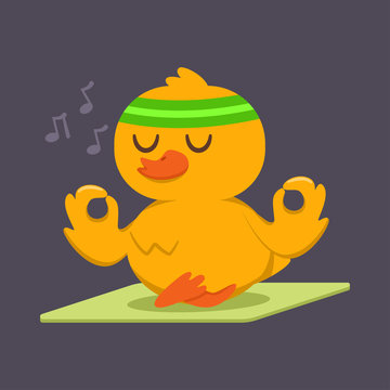 Cute baby duck doing yoga exercise. Funny vector cartoon bird character in lotus pose isolated on a background. Sport and fitness concept illustration.