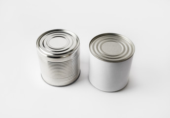 Foto op Canvas Assortiment Two blank food tin cans. Responsive design mockup.