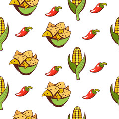 Mexican cuisine. A set of popular Mexican dishes. Fast food. Vector illustration.