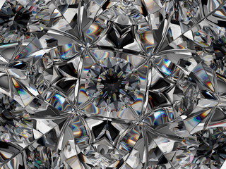 diamond structure extreme closeup with kaleidoscope effect