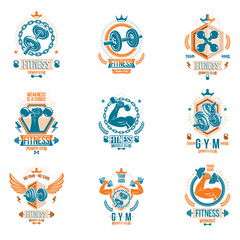 Set of vector fitness workout and weightlifting gymnasium theme logotypes and inspiring posters made using dumbbells, disc weights sport equipment and muscular athlete body silhouettes.