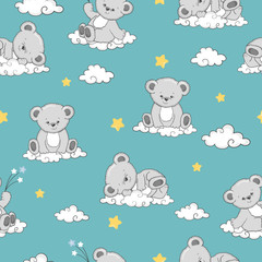 Seamless pattern with cute sleeping Teddy Bears on clouds.