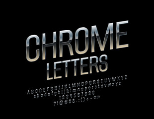 Set of Elegant Chrome Alphabet Letters, Numbers and Punctuation Symbols. Vector Rotated Silver Font.