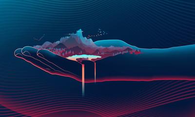 illustration d'une main ouverte contenant un paysage, une montagne symbolisant l'environnement dans le creux de la main