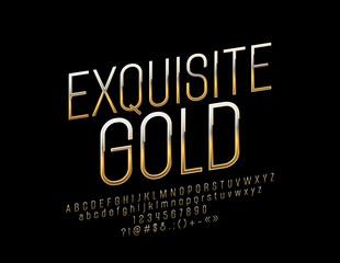 Exquisite Golden Font. Vector Elegant Alphabet Letters, Numbers and Symbols