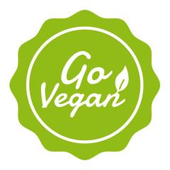Wall Mural - Go Vegan Badge. Vegan Button. Eps10 Vector Banner.