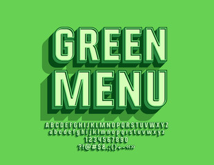 Vector Modern Logo Green Menu with 3D Font. Beveled Alphabet Letters with Shadow