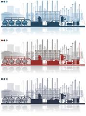 Paysage d'une plateforme industrielle pétrochimique avec des cheminées, sphères, bacs de stockage, colonnes de distillation, vapocraqueur, centrale électrique, silos en 3 couleurs modifiables