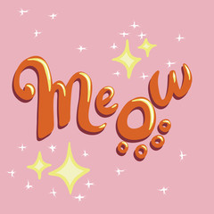 Meow logo on sparkly pink background
