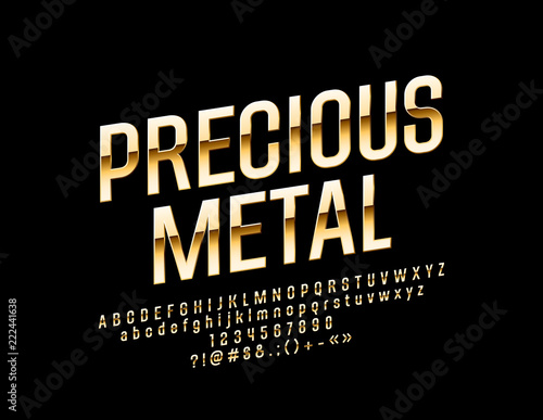 Vector Glossy Precious Metal Font Chic Golden Rotated Alphabet