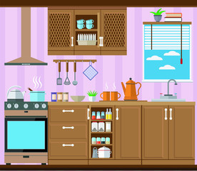 Kitchen with furniture, stove and window. Vector illustration, set.