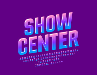 Vector Colorful Logo Show Center. Bright Font. Glossy Alphabet Letters, Numbers and Symbols.