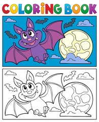 Coloring book cartoon bat 1