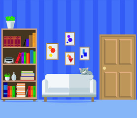 Living room with sofa, wardrobe and books. Vector illustration is not a living room design theme, set.