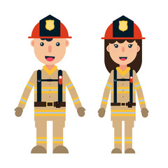 Male and female firefighters set