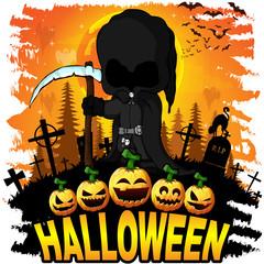 Halloween poster with dark reaper. Vector illustration.