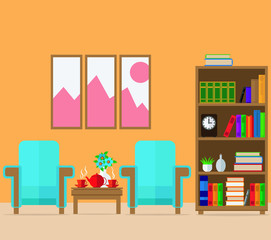 A cozy room with armchairs, a table and a bookcase. Vector illustration. set.