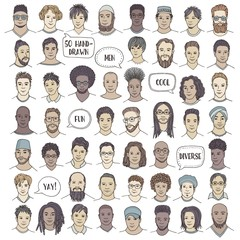 Set of fifty hand drawn male faces, colorful and diverse portraits of men of different ethnicities