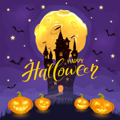 Happy Halloween with castle and happy pumpkins on purple background