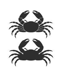 Crab logo. Isolated crab on white background. Silhouette