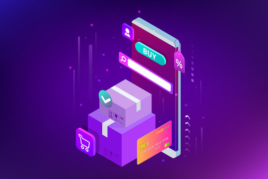 Isometric vector Online shopping concept. Landing page template. Modern ultraviolet design for a web page. Sale, consumerism, buy online and e-commerce concept.