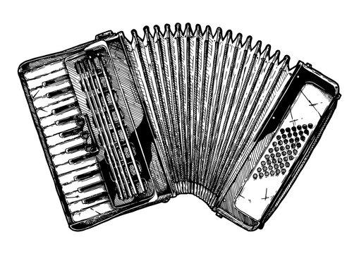 Vintage illustration of piano accordion