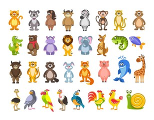 Big set of animals and birds. Lion, kangaroo, iguana, fish, hare, pig, giraffe, ostrich, snail. Cartoon characters on white background. Isolated objects. Colorful flat vector illustration for kids.