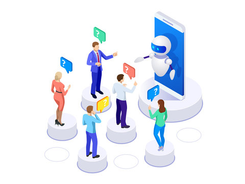 Isometric artificial intelligence. People ask questions for the chatbot. Science teacher bot concept. Knowledge Expertise Intelligence Learn. Technology and engineering. Online training banner