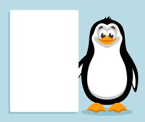 Cute penguin with white banner or board. Template for your text. Cartoon  character on blue background. Place your text on blank sheet. Flat style. Colorful vector illustration.