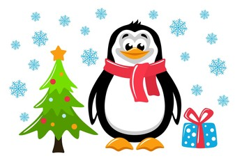 Сute penguin, christmas tree and gift box on a white background. Funny cartoon character on white background. Flat design. Isolated object. Colorful vector illustration for kids.